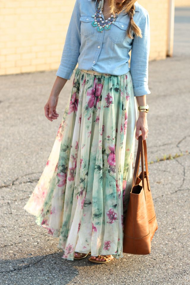 Lilly Style: floral maxiSoft Pleated, Floral Maxis, Chicwish Mint, Dusty Floral, Denim Shirts, Silky Dusty, Mint Multi, Floral Maxi Skirts, Maxis Skirts