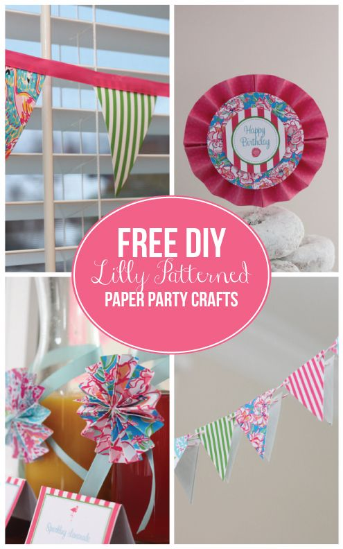 {Party Crafts}  DIY Free Lilly Pulitzer Party Crafts - Garlands and Paper Medallions