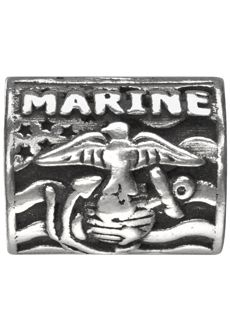 """Proud Marine Corps - Show your pride with one of these .925 sterling silver spacers depicting the Marine Corps emblem along with the words """"Proud"""" and """"USMC"""" embossed over an American flag."""