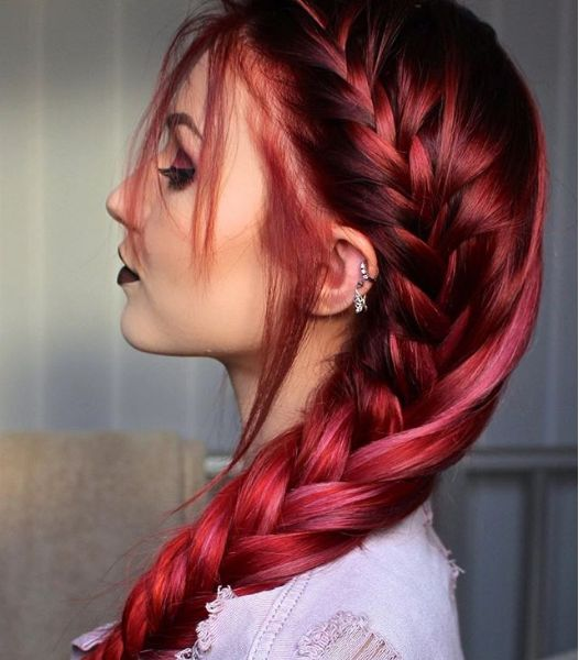 Wow~ Soo amazing color and hairstyle, Can't stop looking @stellacini  #hairstyles #haircolor #redhair #coloredhair #colorfulhair #hairextensions #haircuts #hairtransformation #dyedhair