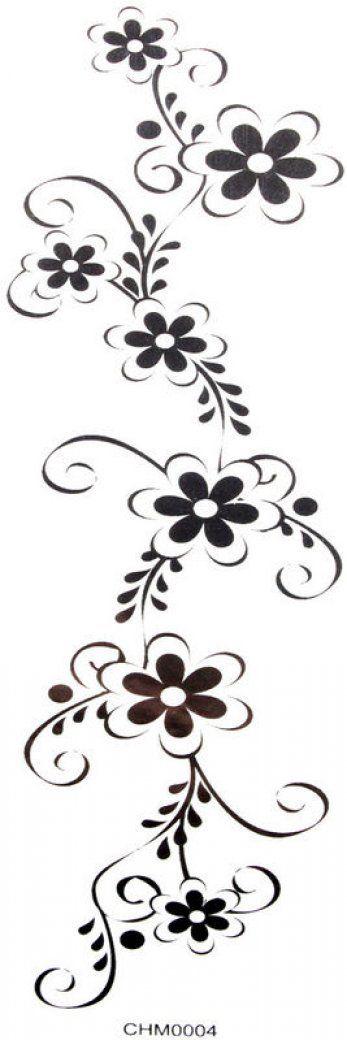 SPESTYLE waterproof non-toxic temporary tattoo stickersCool Waterproof temp tattoos black flowers (waist / chest / back / hand / leg, etc.)