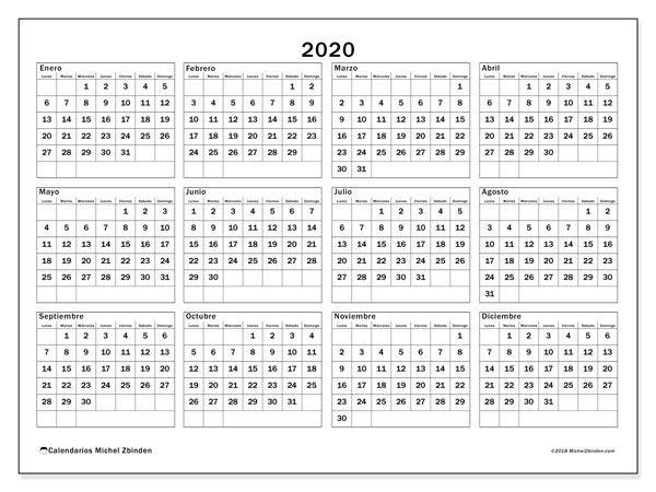 Calendario Agenda 2020 Para Imprimir.Calendario 2020 34ld Calendario 2019 Convergencia