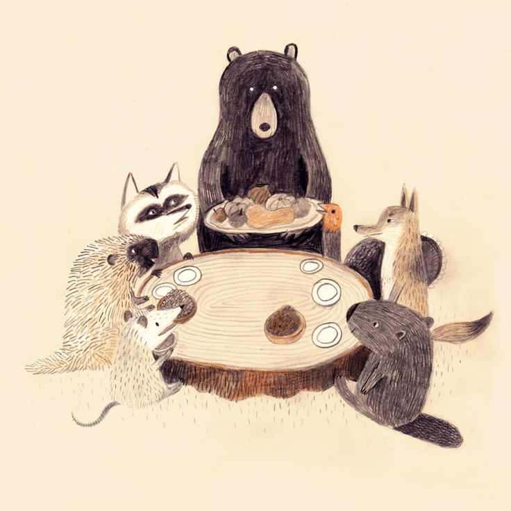 Woodland dinner party | kids art illustrations