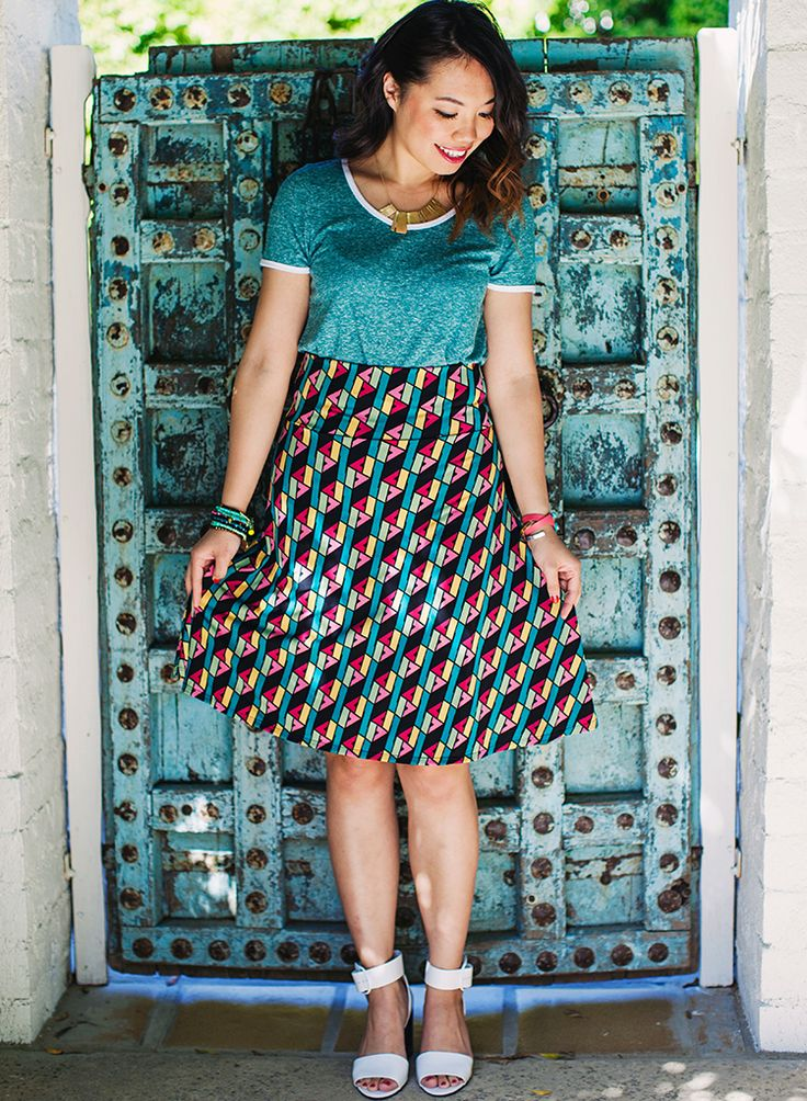 When it comes to our LuLaRoe Azure skirt, looks are deceiving in the best way. This knee-length, A-line skirt looks dressy and polished, but it's knit fabric and flattering fold-over waist makes it feel like your favorite pair of yoga pants. Win win.
