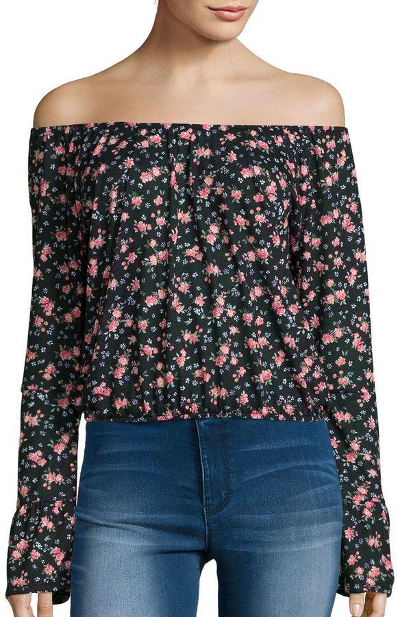 ARIZONA Arizona Long-Sleeve Off-Shoulder Floral Peasant Shirt