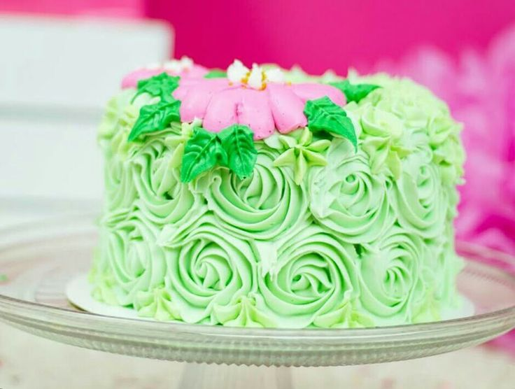 Mint green and pink smash cake
