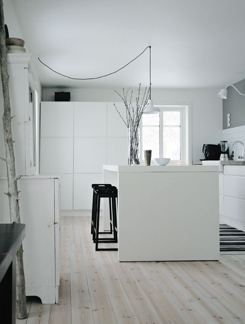 the boo and the boy: subway tile, white, love the light fixture and black stools