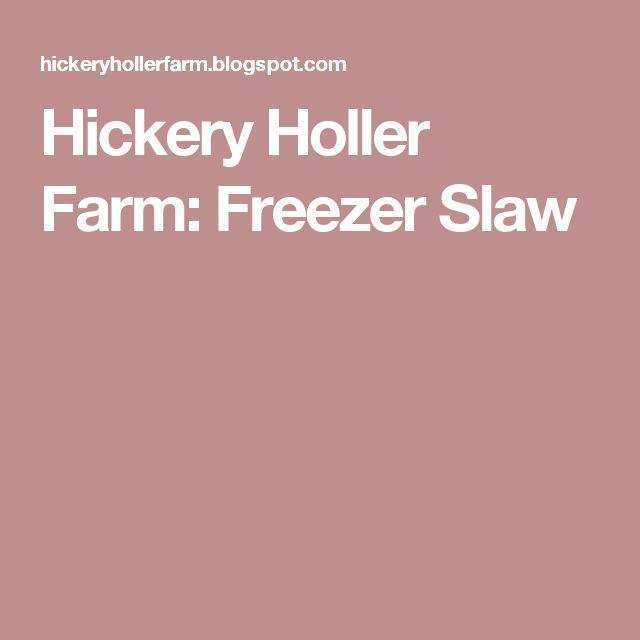 Hickery Holler Farm: Freezer Slaw