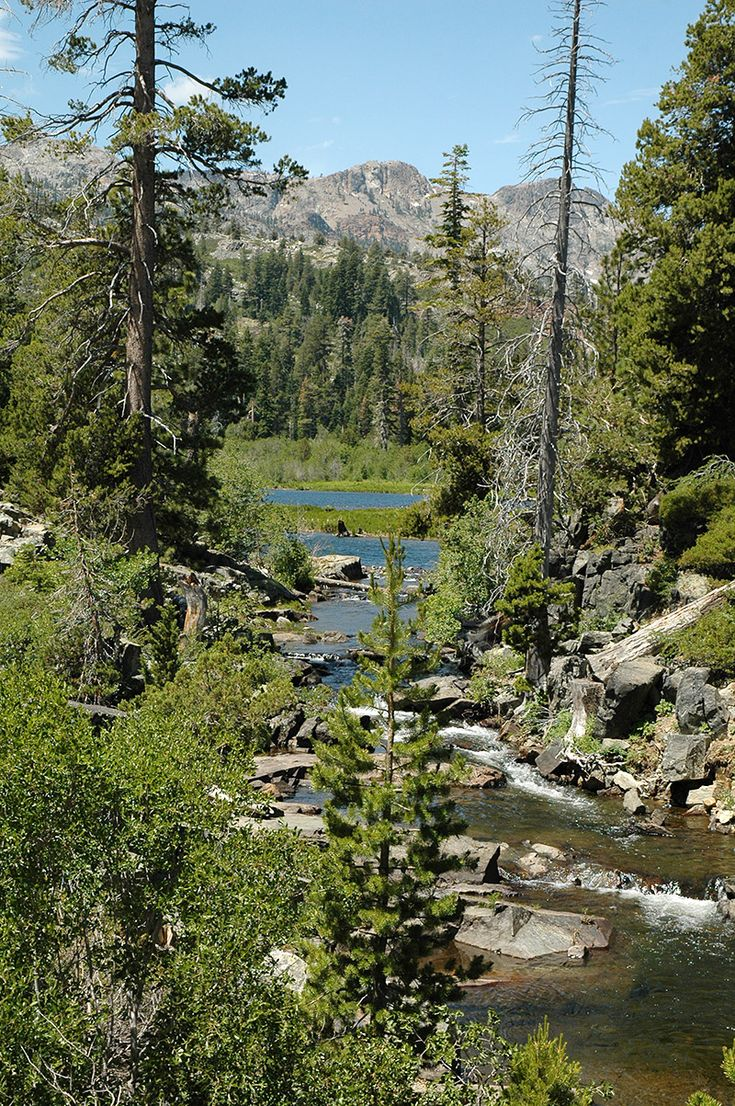 Views of Desolation Wilderness fjust above the Fallen Leaf Lake area. Park your car and select from a number of great South Lake Tahoe hiking trails. Best time to hike in Lake Tahoe is June through October depending on the weather. Enjoy the great beauty of the Sierra Mountains.