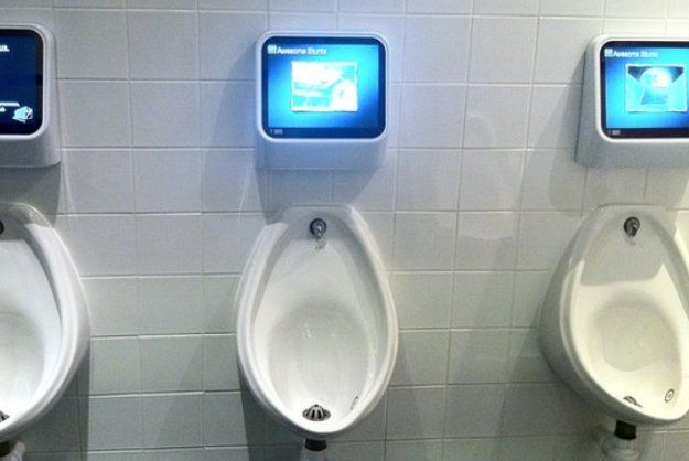 Pic On  uPee Powered u Screens Above Urinals Provide Interactive Bathroom Gaming