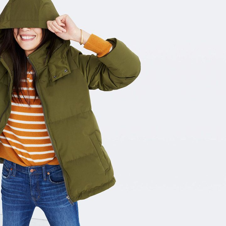 I like this army green Puffer Parka a lot! I think I'm addicted to green coats this fall #greencoat #ad #pufferparka #madewell