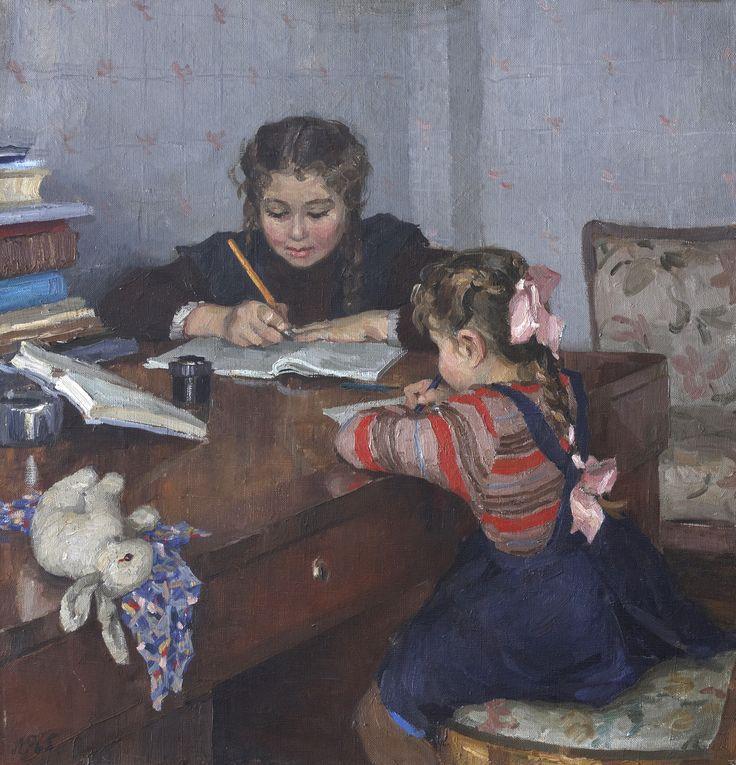 """""""Sister / Сестрёнки"""", 1952-53. Рыбченкова Лора Борисовна (1928-?)"""