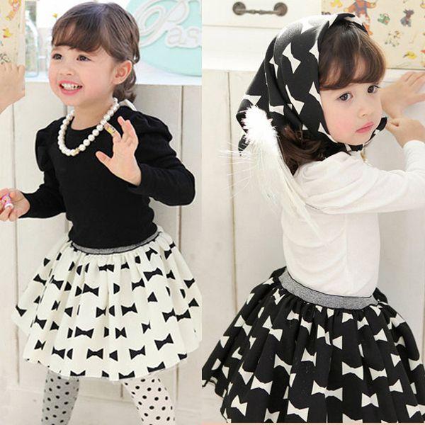 Малыш девушки костюмы с длинным рукавом + бант юбка + платок 3 шт. Set костюмы одежда 1-5Y