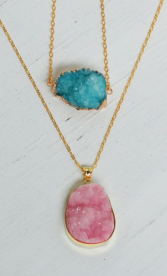 Pink AGATE Druzy NECKLACE Beautiful Stone