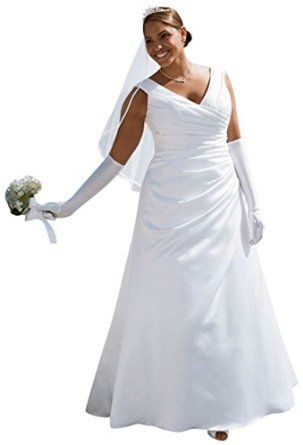 SAMPLE: Wedding Dress Off-the-shoulder A-Line with Side-draped bodice  David's Bridal