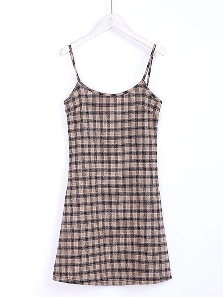 Cami Straps Plaid Dress