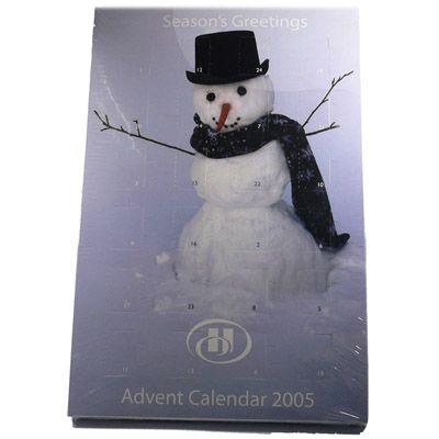 Image of Promotional Advent Calendars printed with seasonal snowman, christmas tree, and santa theme