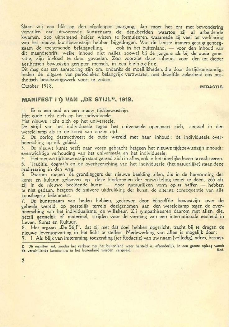 Manifesto De Stjil 1918. Os manifestos não utilizavam cor e seguiam praticamente a estrutura dos jornais utilizando títulos bold e marcando os parágrafos.