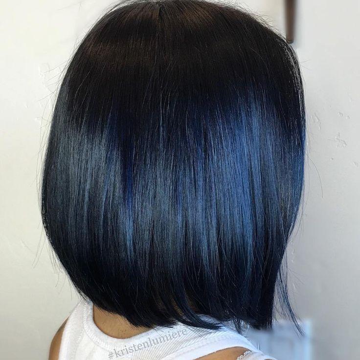 Sleek Black Bob With Blue Highlights
