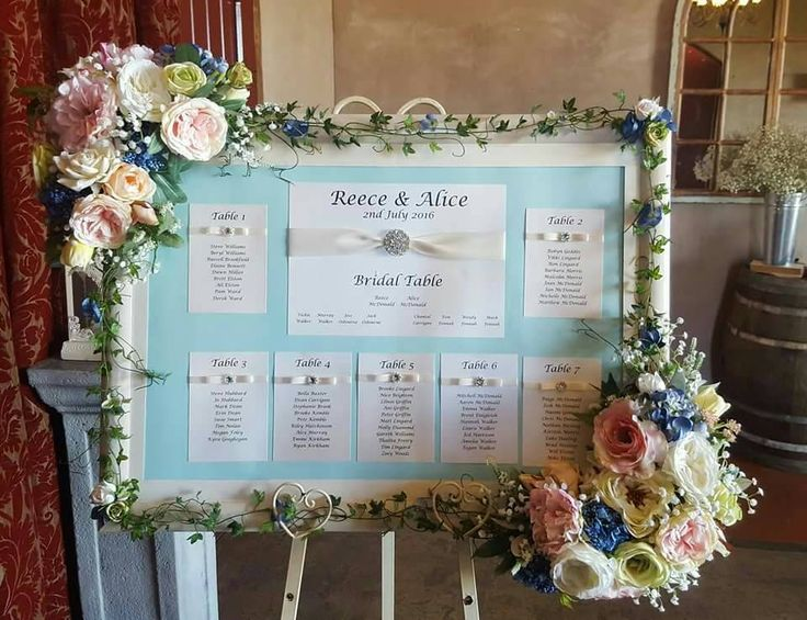 Ivory wedding Seating Plan cards, as displayed by one of our customers.