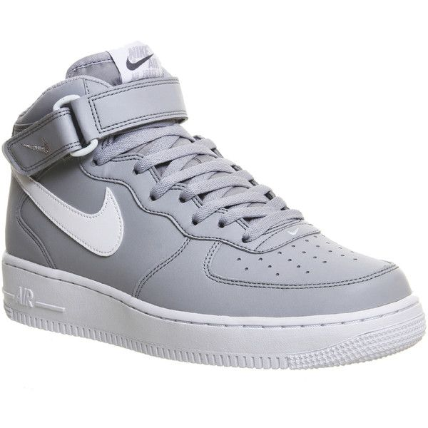 Nike Air Force 1 Mid ($110) ❤ liked on Polyvore featuring shoes, sneakers, trainers, unisex sports, wolf grey white m, white hi top sneakers, white high top shoes, gray sneakers, nike trainers and white high tops