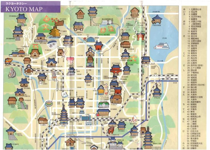 Attractions Kyoto in Japanese good for taxi 07 Japan – Kyoto Tourist Attractions Map