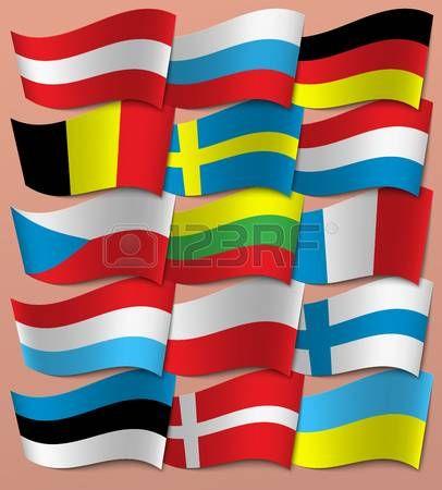 Establecer banderas de Europa. Europa. Vector. Vectores