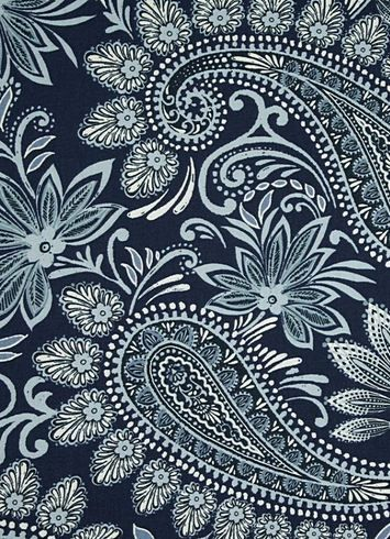 "Navodari Denim Paisley -  100% cotton duck, . Multi purpose home décor fabric for light use upholstery, slipcovers, drapery fabric, pillow covers, swags or top of the bed. Repeat; H 27"" x V 27"". 54"" wide"