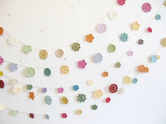 folk flowers, crochet garland... Freda - multi-colored brights ...Ready to ship - by Emma Lamb. £37.00, via Etsy.