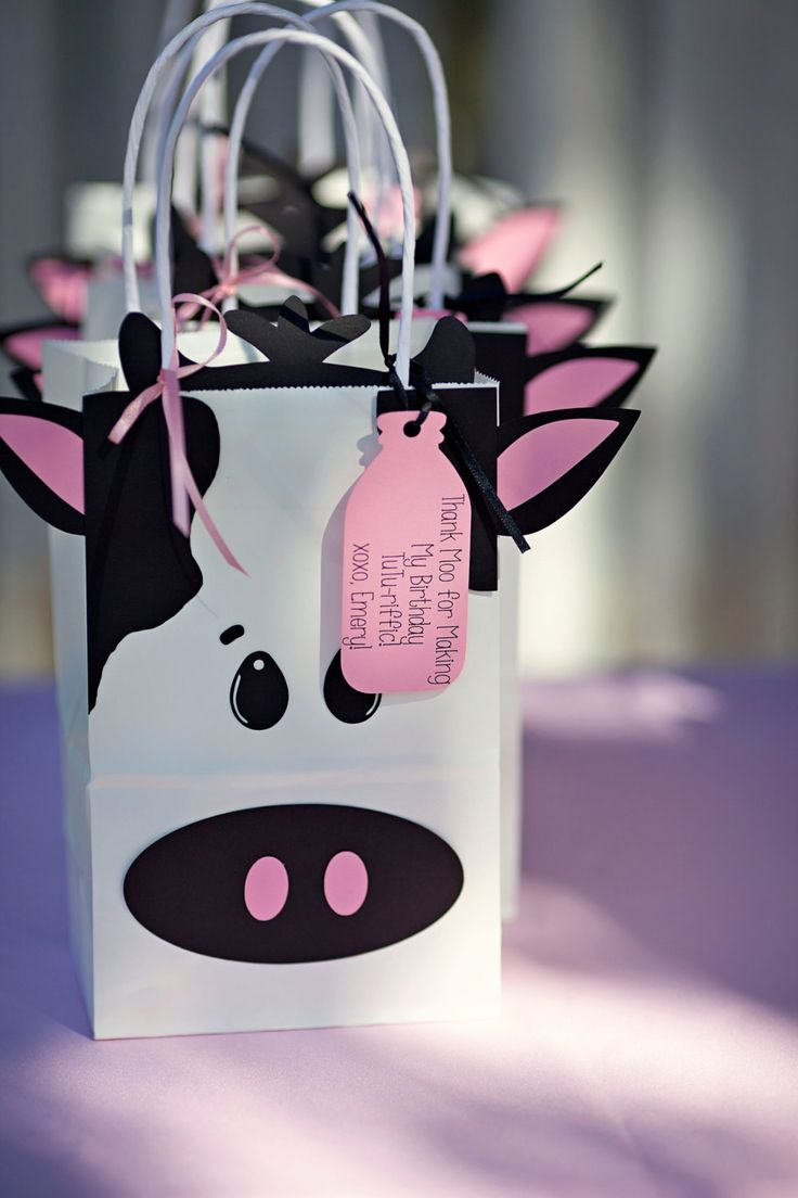 MooMoos & Tutus Cow Favor Bags by DownEmeryLane on Etsy