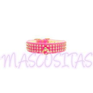 Collar con 4 filas de cristales Swarovski en color Rosa.¡Combínalo con la correa!