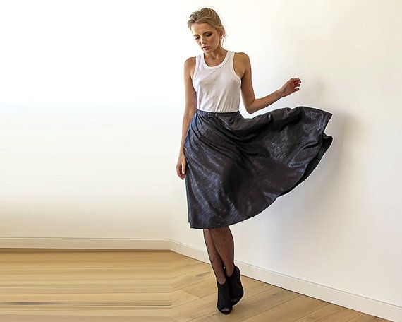 Black Metallic midi Skirt  Knee length skirt with by BLUSHFASHION