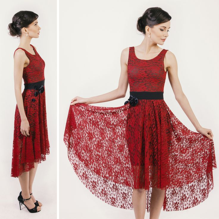 Red lace dress with velvet flowers #elegant #style #audrey #tangodress #beauty #collection #illango