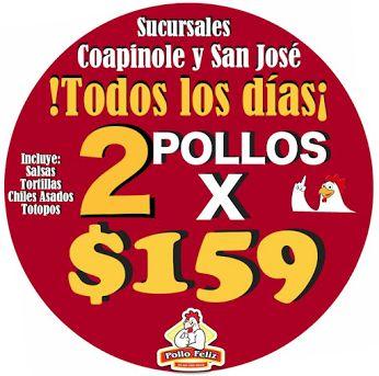 Todos los días!! 2 Pollos x $159 Sucursales: Coapinole y San Jose del Valle  (Abierto de 11am a 7pm) Exige tu Ticket de compra, si no te lo entregan tu Orden será GRATIS! Telefonos *Coapinole: 29-9-11-69 y 29-9-67-88  *San Jose del Valle: 29-5-23-33  Ojo: Si tu Pollo te lo lleva un repartidor de Pollo Feliz PtoVallarta y no te incluye el costo de $25 del servicio en tu ticket... Tu Servicio será Totalmente GRATIS!!  #MasBarato #Ahorro #Paquetes #Promociones #PolloFeliz #PuertoVallarta…