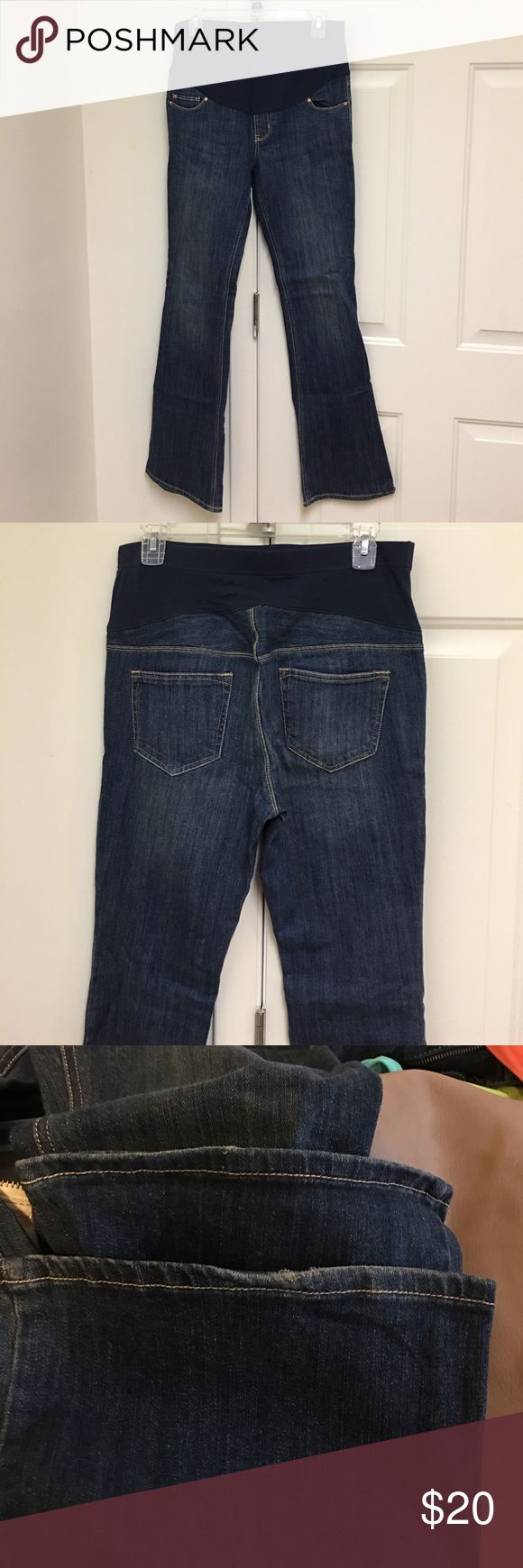 Old navy maternity jeans Flare maternity jeans with full panel. Very comfortable. Slight distress on bottom of the legs. Size 6 LONG Old Navy Jeans Flare & Wide Leg
