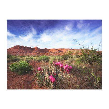 Utah Desert Spring Cactus Landscape Photo Canvas Print - flowers floral flower design unique style