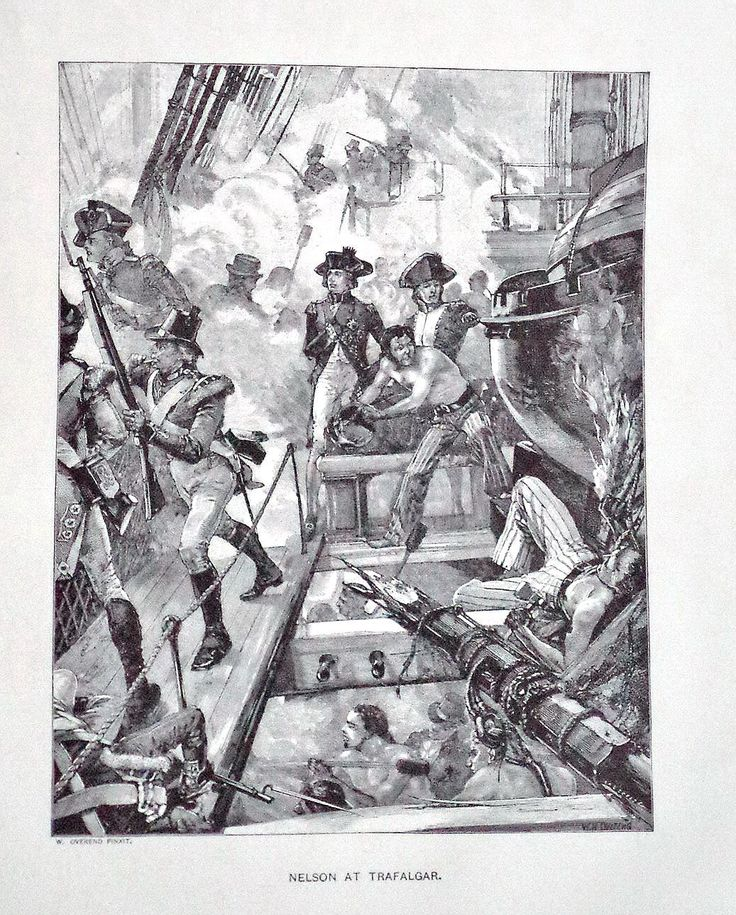 Nelson at Trafalgar 1894 Antique Steel engraving Print, Overend, Napoleonic War, Nelson, HMS, Battleship, Antique Wall Decor, Print,  12x9 by MushkaVintage3 on Etsy