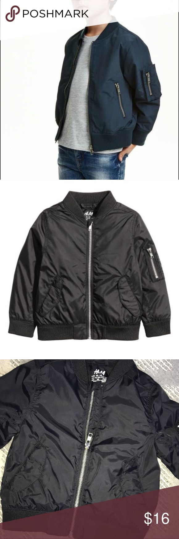NWT H&M black bomber jacket for kids Unisex. H&M Boys Bomber Jacket in Black. With small stand-up collar, zip front, side zip pockets, and sleeve pocket with zip. Lined and Machine Washable! Retails for $30 selling fast! I have size 4-5Y H&M Jackets & Coats