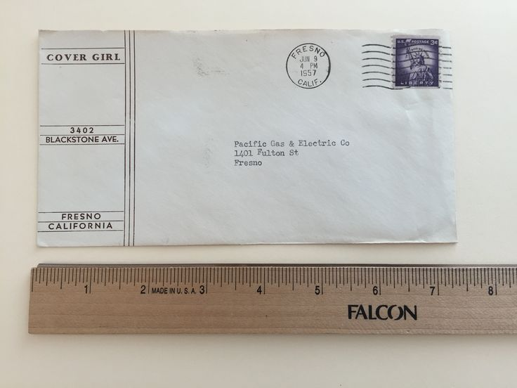 "Item: fc_19570609_2 Business cover approx.  4"" x 7 ½"" Condition: very good, yellowing due to age and slight creases  Cover Girl 3402 Blackstone Ave. Fresno California  Postmark: FRESNO JUN 9 4 PM 1957 CALIF. Stamp: 3c Liberty First Class  Addressee: Pacific Gas & Electric Company 1401 Fulton St Fresno"