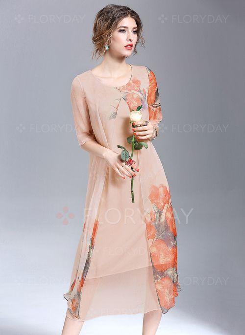Vestidos de - $124.99 - Seda Floral Manga até a metade do braço Longuete…
