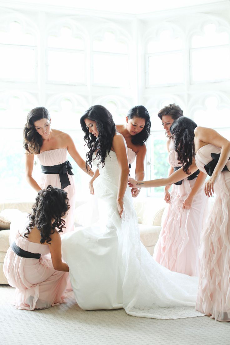 Bridesmaids in blush and black. Seriously stunning. Photography: L&L Style Photography - llstylephoto.com  Read More: http://www.stylemepretty.com/tri-state-weddings/2014/04/15/glamorous-pink-black-wedding/