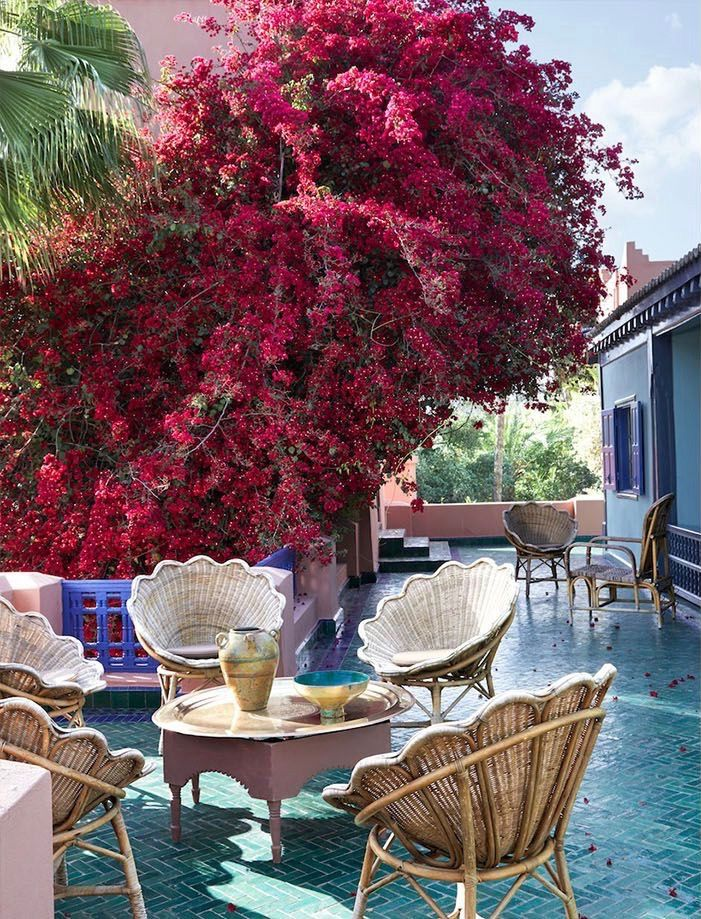 Yves Saint Laurent S Private Moroccan Villa Katie Considers Elle Decor Outdoor Outdoor Decor