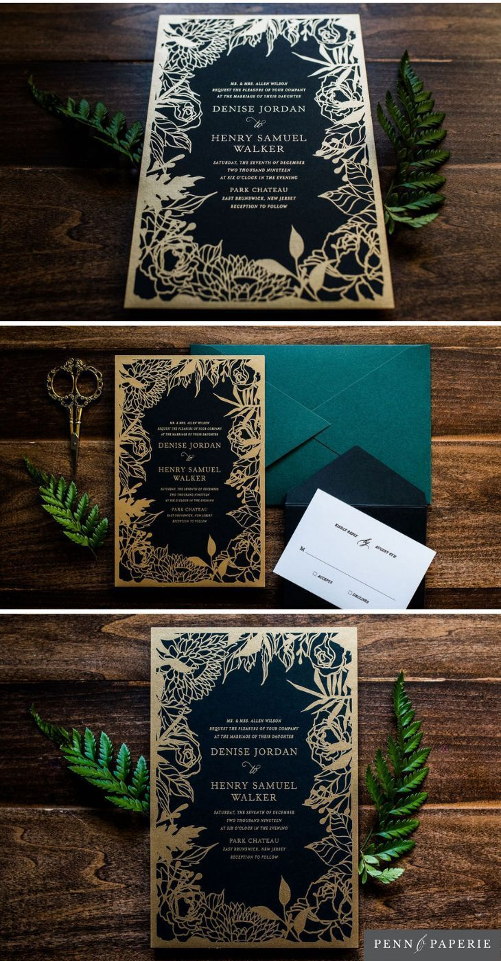 Black And Gold Floral Wedding Invitation With Bold Botanical Greenery Design By Penn Moody Wedding Invitations Floral Wedding Invitations Glam Wedding Invites