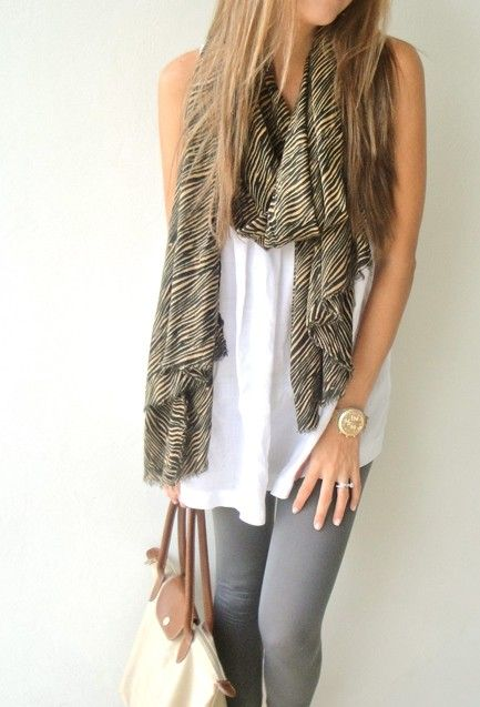 Love Scarves.Fashion Scarves, Casual Outfit, Style, White Shirts, Casual Looks, Travel Outfit, Cute Outfit, Grey Jeans, Grey Legs