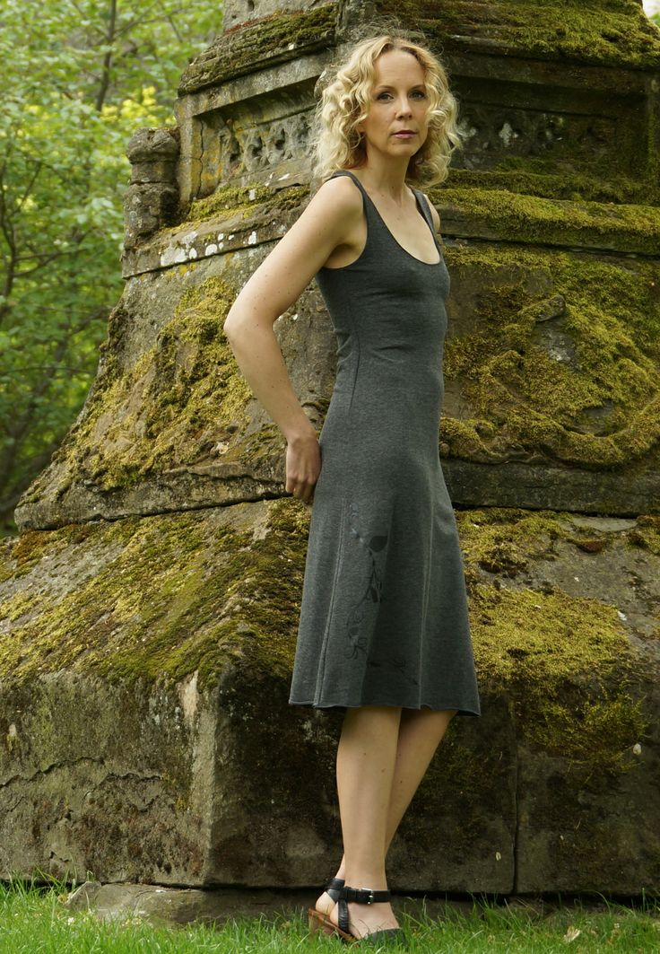A Line Bamboo Dress from Squeezed.ca http://squeezed.ca/shop/charcoal-bamboo-a-line-dress-with-black-vine-print