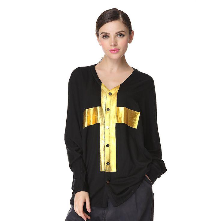 women autumn European Fashion Long cardigan sweater golden cross knitted  sweater cardigan women winter sweater