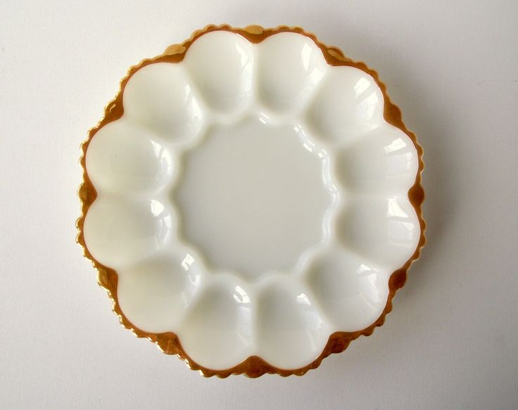 Milk Glass Egg Plate with 22K Gold Rim from Anchor Glass , Deviled Egg Plate , Vintage Milk Glass Serving Plate , White Gold Holiday Party by gazaboo on Etsy https://www.etsy.com/listing/260308038/milk-glass-egg-plate-with-22k-gold-rim