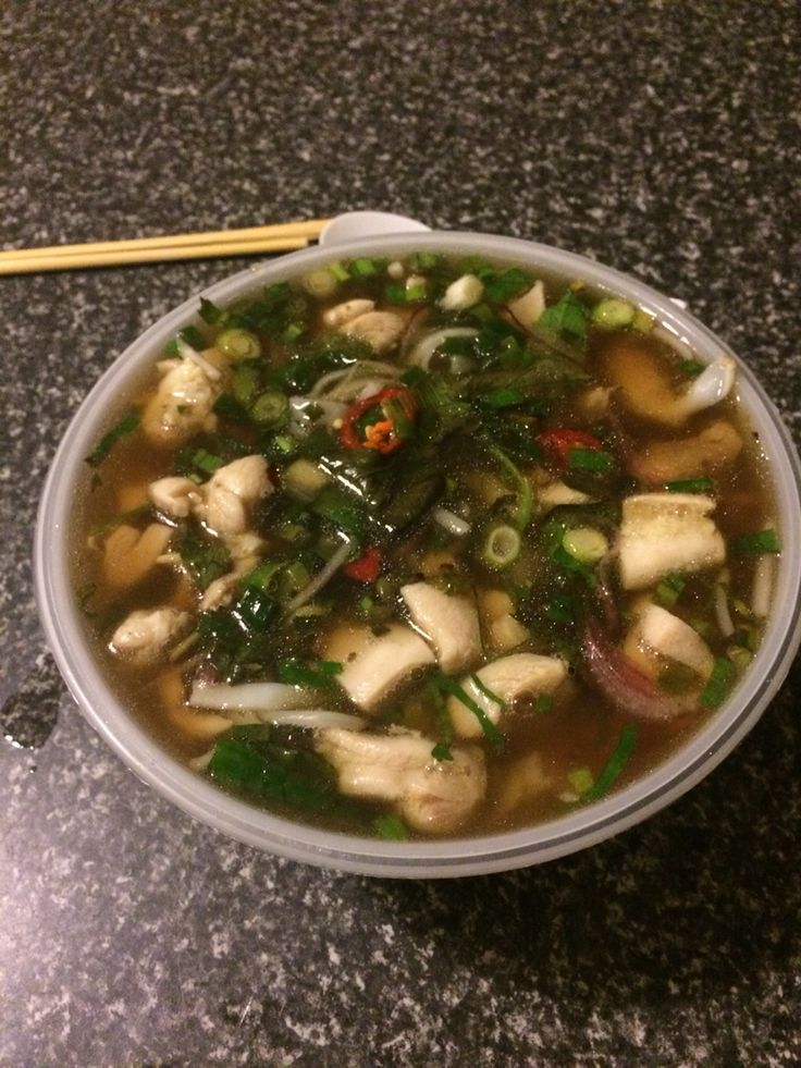 Chicken pho. Best soup ever. From local noodle world. South Melbourne. With chicken, chicken stock, veggies and chilli.
