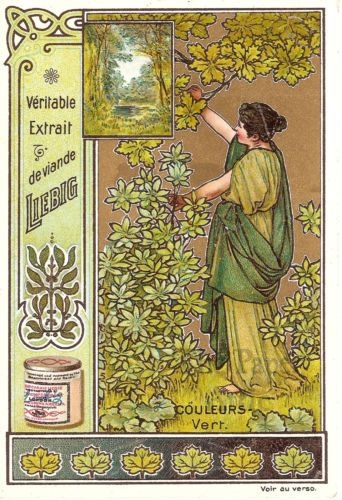 Antique vintage art nouveau french liebig trade card woman with olive tree green ebay