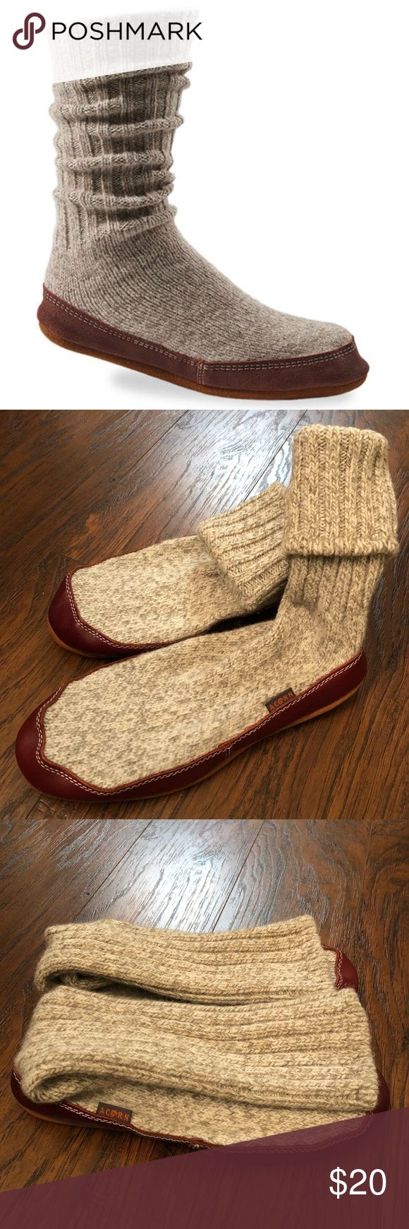 Acorn Original Slipper Sock 71/2-81/2 NWOT These are NWOT. The Original Slipper Sock--over 40 years and still going strong. Astronauts have worn them on shuttle missions and aboard the International Space Station! they're perfect for downtime on a frosty weekend, or just lounging around the pad all year long. in ragg wool, Cotton Twist Style is 97% cotton, 3% spandex Premium, multilayer Cloud Cushion™ footbed Durable leather sidewall repels stains and water Genuine suede sole Care: Machine…